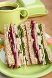 Club Sandwiches with Meat and Vegetables Royalty Free Stock Images