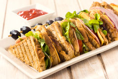 Club sandwiches in plate Royalty Free Stock Photos