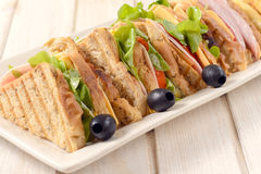 Club sandwiches in the plate Stock Image