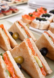 Club Sandwiches with Salmon and Cucumbers Stock Photos
