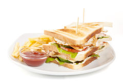 Club sandwitch and fries Royalty Free Stock Photography