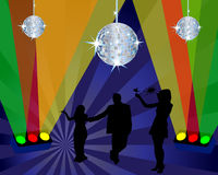 Club scene. Abstract night club dancing scene with light and disco spheres Stock Photo