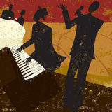 Club Singer. A jazz club singer with a piano player and a couple sitting at a table drinking wine vector illustration