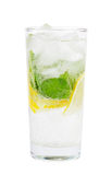 Club soda with lemon and mint  on white Stock Images