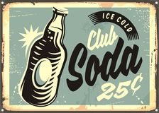Club soda promotional retro tin sign Royalty Free Stock Photography