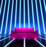 Club sofa interior. Club purple sofa in blue interior with halogen lights Royalty Free Stock Photos