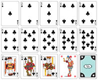 Club suit. Playing cards club suit, joker and back Royalty Free Stock Photos
