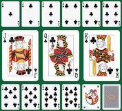 Club suit. Playing cards, club suit, joker and back. Faces double sized. Green background in a separate level in vector file Stock Photography