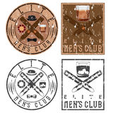 Club vintage grunge labels with cigars and whiskey glass Stock Image