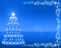 Club Xmas tree. Blue mirrorballs christmas tree and snowflakes Royalty Free Stock Photos