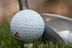 Club golf ball. Marked golf ball and club Stock Image