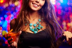 Clubber with cocktail Royalty Free Stock Image