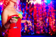 Clubber with cocktail Stock Images