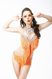 Clubbing. Latin Woman Entertainer in Stage Clubwear Stock Images