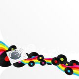 Clubbing retro music background. Vector illustration of a stylized turntable design element with rainbow stripe ribbon and vinyl discs. Funky star circles in the Stock Images