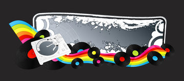 Clubbing retro music banner. Vector illustration of a stylized turntable design element with rainbow stripe ribbon and vinyl discs. Grunge frame for custom Royalty Free Stock Photography