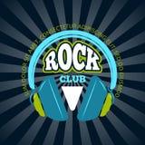 Clube da música rock, logotipo do vetor da música, crachá, emblema com fones de ouvido ilustração do vetor