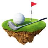 Clube de golfe, esfera, flagstick e furo Imagens de Stock