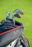 Clube de golfe Saco com clubes de golfe Fotografia de Stock