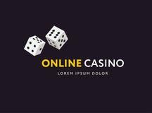 Clube do jogo ou molde em linha do logotipo do casino Ilustração do vetor Projeto liso da escada Fotografia de Stock
