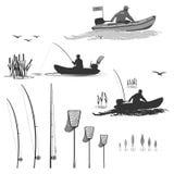 Clube dos pescadores nos barcos com um motor Fotografia de Stock Royalty Free