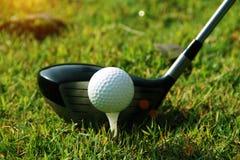Clube e bola de golfe de golfe próximos acima em coures do golfe em Tailândia Foto de Stock