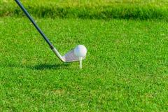 Clube e esfera de golfe na grama Fotografia de Stock Royalty Free