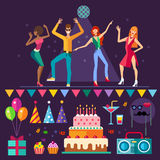 Clube noturno Truques de dança no amarelo Fotografia de Stock