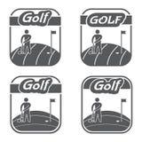 Clube retro e do vintage do logotipo de golfe Emblemas do vetor Foto de Stock