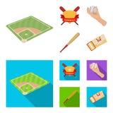 Clubembleem, knuppel, bal ter beschikking, aan te passen kaartje Pictogrammen van de honkbal de vastgestelde inzameling in beeldv royalty-vrije illustratie