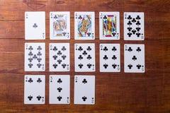 Clubes ajustados de cartões de jogo Imagem de Stock Royalty Free