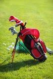 Clubes de golfe no golfbag, fundo da grama verde fotos de stock