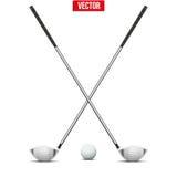 Clubes e esfera de golfe Vetor ilustração do vetor