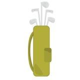 Clubes e saco de golfe ilustração stock