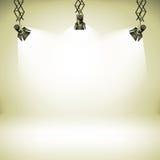 Clubgalerietheaters des Scheinwerferlichts Vektorillustration des Hintergrundes 3d des abstrakten Innen-realistische Lizenzfreie Stockfotografie