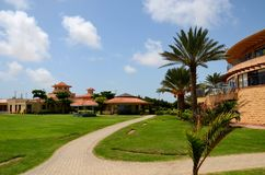 Clubhouse and gardens at the DHA Golf club Karachi Pakistan Royalty Free Stock Photography
