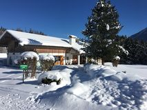 The Clubhouse of Goldegg Golf Club, Austria in Winter. After heavy snow fall Royalty Free Stock Photography