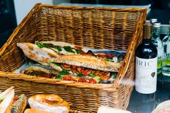 Clubhouse Sandwich on Brown Woven Basket Royalty Free Stock Photography