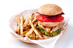 Clubhouse sandwich on a burger bun. With crispy fries and gravy Royalty Free Stock Photography