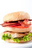 Clubhouse sandwich on a burger bun Stock Photos