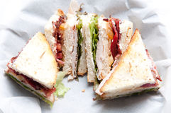 Clubhouse sandwich with fries Royalty Free Stock Photography