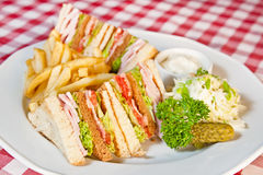 Clubhouse sandwich. Sandwich with salad, deep-fried potatoes, pickled cucumber and cheddar sauce stock photography
