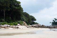 Private beach of ClubMed Bintan stock photos