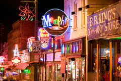 Clubs of Beale street. MEMPHIS, USA - NOVEMBER 25: Neon signs of world famous blues clubs on historical Beale street on November 25, 2008. Beale street is a