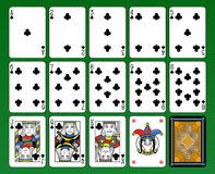 Clubs Cards symbols deck. Playing cards, club suite, joker and back. Green background vector illustration