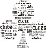 Clubs of Clubs. Shape of clubs card suit made of words clubs Stock Image