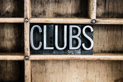 Clubs Concept Metal Letterpress Word in Drawer Stock Images