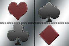 Clubs, corazones, diamantes y espadas de la aguamarina Imagen de archivo libre de regalías