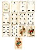 Clubs de cartes de jeu d'Ancien photo stock