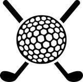 Clubs de golf cruzados con la bola ilustración del vector